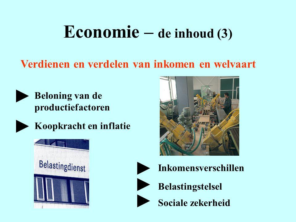 Economie – de inhoud (3) Verdienen en verdelen van inkomen en welvaart Beloning van de productiefactoren Inkomensverschillen Belastingstelsel Koopkrac