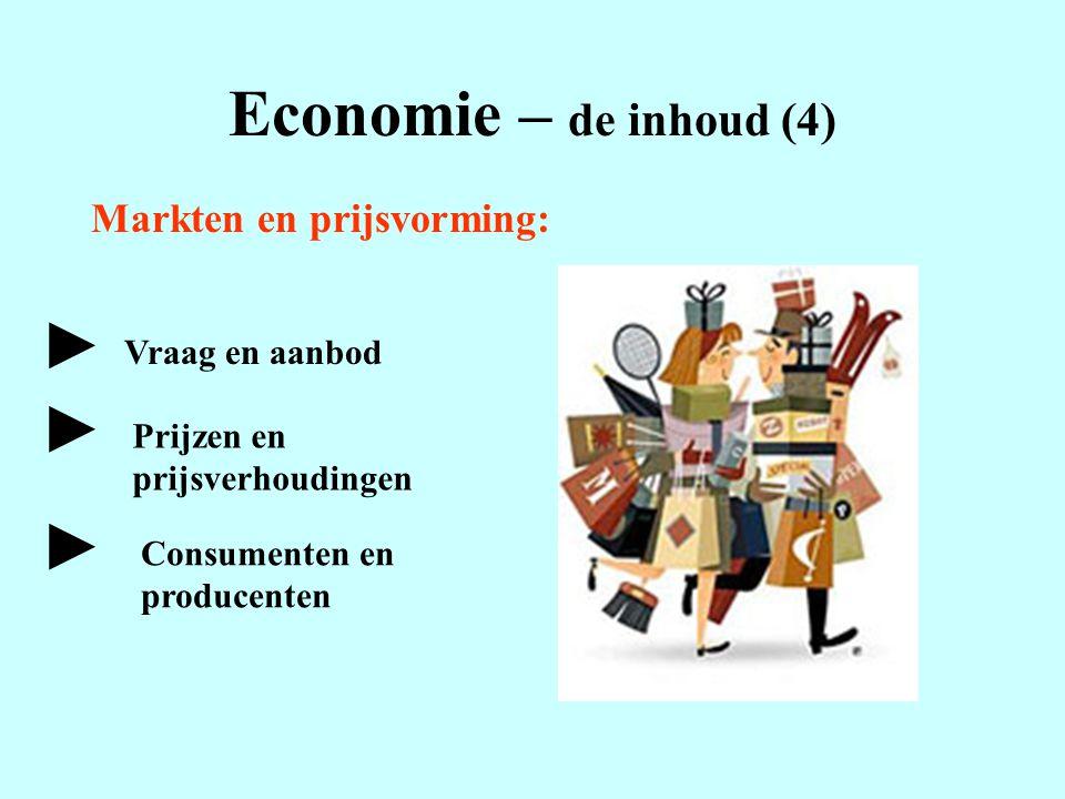 Economie – de inhoud (4) Markten en prijsvorming: Vraag en aanbod Prijzen en prijsverhoudingen Consumenten en producenten ► ► ►