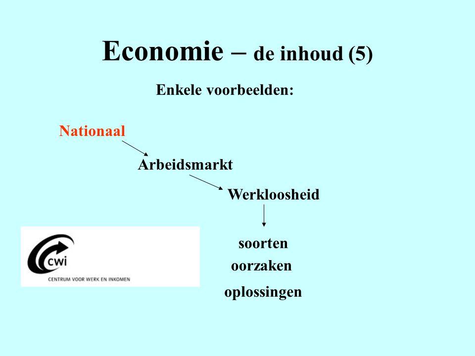 Economie – de inhoud (5) Enkele voorbeelden: Nationaal soorten oorzaken oplossingen Arbeidsmarkt Werkloosheid