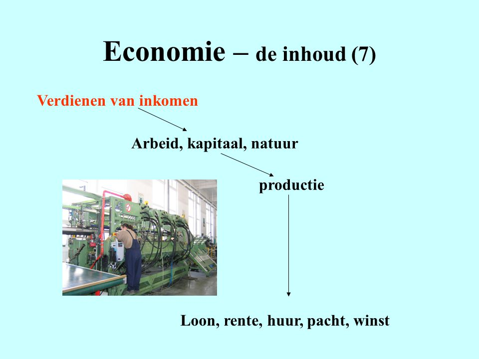 Economie – de inhoud (7) Verdienen van inkomen Arbeid, kapitaal, natuur productie Loon, rente, huur, pacht, winst