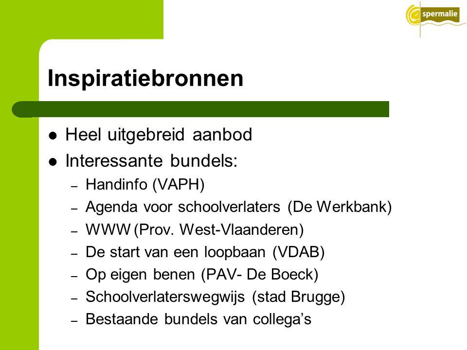 Inspiratiebronnen Heel uitgebreid aanbod Interessante bundels: – Handinfo (VAPH) – Agenda voor schoolverlaters (De Werkbank) – WWW (Prov. West-Vlaande