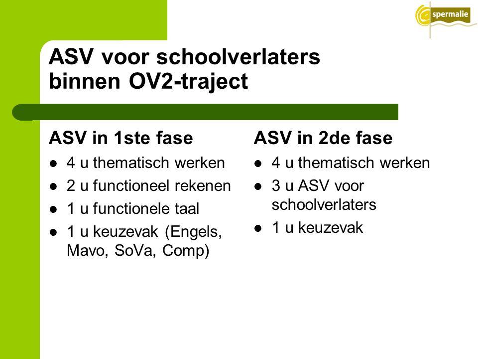 ASV voor schoolverlaters binnen OV2-traject ASV in 1ste fase 4 u thematisch werken 2 u functioneel rekenen 1 u functionele taal 1 u keuzevak (Engels,