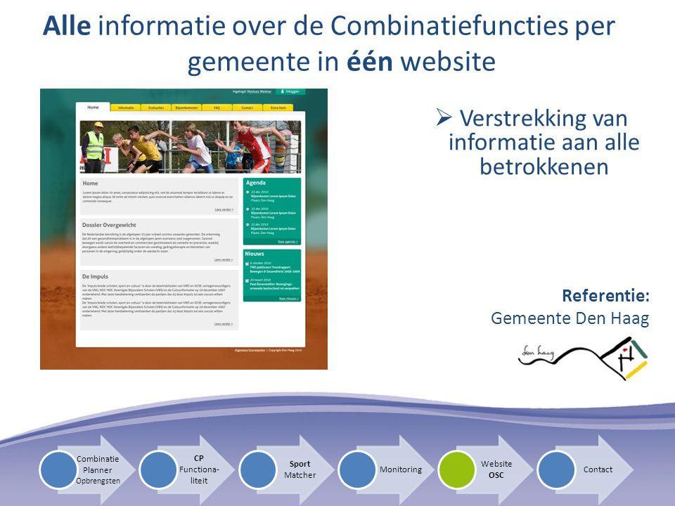 Alle informatie over de Combinatiefuncties per gemeente in één website  Verstrekking van informatie aan alle betrokkenen Referentie: Gemeente Den Haa
