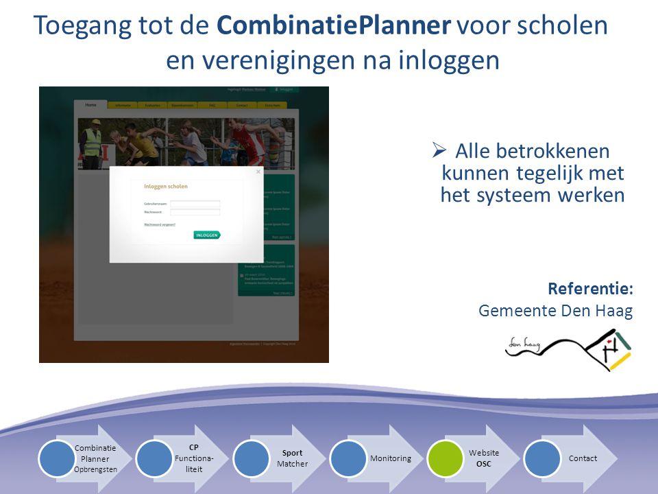  Alle betrokkenen kunnen tegelijk met het systeem werken Toegang tot de CombinatiePlanner voor scholen en verenigingen na inloggen Referentie: Gemeen