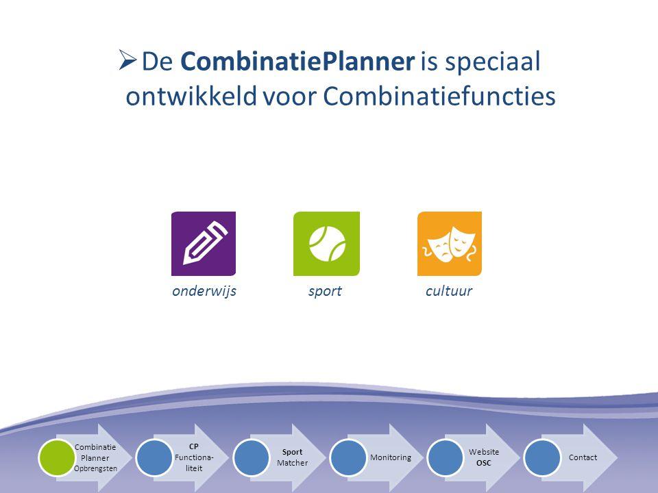  De CombinatiePlanner is speciaal ontwikkeld voor Combinatiefuncties CP Functiona- liteit Sport Matcher Monitoring Website OSC Contact Combinatie Pla