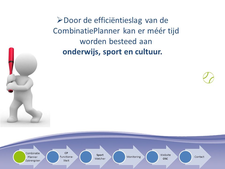 CP Functiona- liteit Sport Matcher Monitoring Website OSC Contact Combinatie Planner Opbrengsten  Proces SportMatcher
