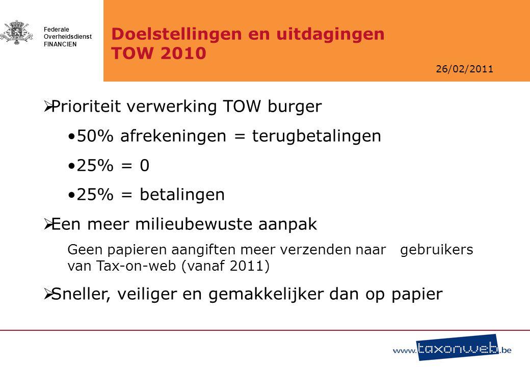 26/02/2011 Federale Overheidsdienst FINANCIEN Doelstellingen en uitdagingen TOW 2010  Prioriteit verwerking TOW burger 50% afrekeningen = terugbetali