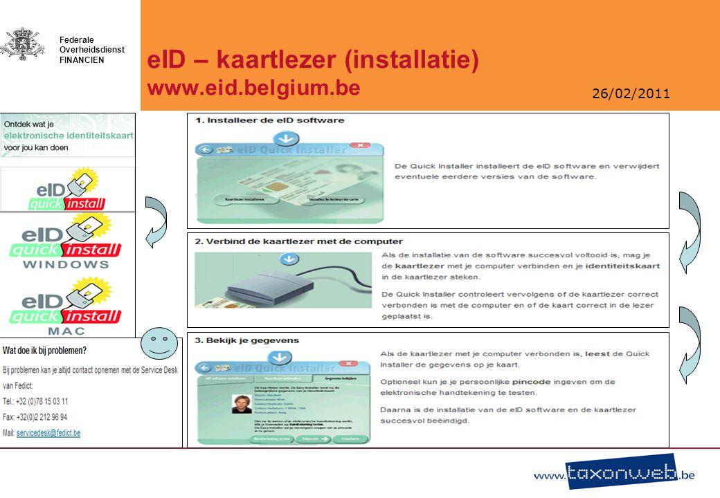 26/02/2011 Federale Overheidsdienst FINANCIEN Tax-on-web Burger/Ambtenaar/Volmachthouder
