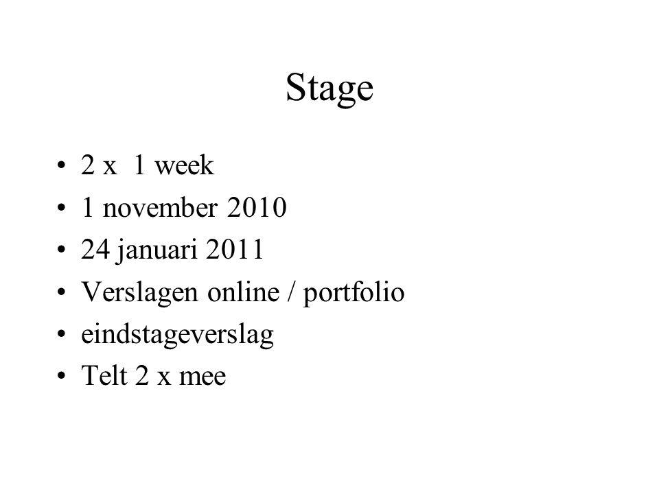 Stage 2 x 1 week 1 november 2010 24 januari 2011 Verslagen online / portfolio eindstageverslag Telt 2 x mee