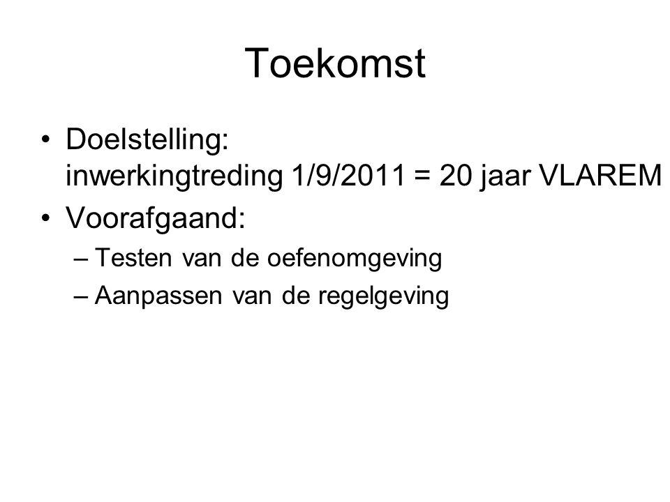 Toekomst Doelstelling: inwerkingtreding 1/9/2011 = 20 jaar VLAREM Voorafgaand: –Testen van de oefenomgeving –Aanpassen van de regelgeving