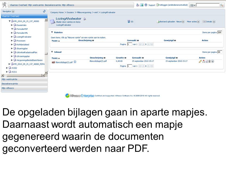 De opgeladen bijlagen gaan in aparte mapjes. Daarnaast wordt automatisch een mapje gegenereerd waarin de documenten geconverteerd werden naar PDF.