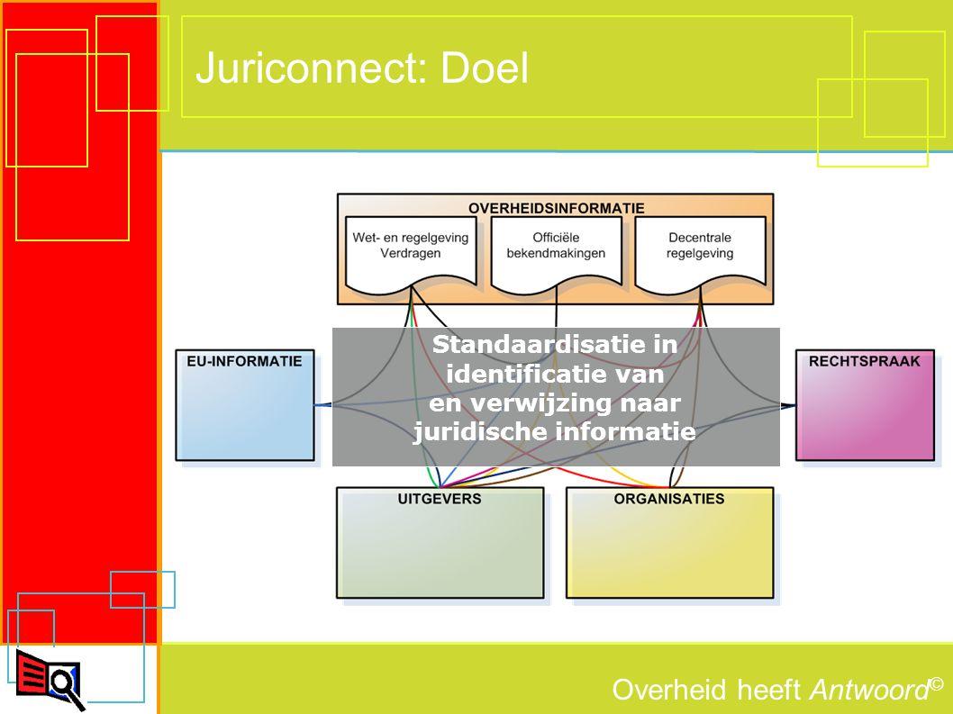 Overheid heeft Antwoord © 5 Middel: standaardisatie Opslag en uitwisseling in XML Unieke ID's voor - Officiële bekendmakingen - Wet- en regelgeving - Verdragen - Decentrale regelgeving Realisatie webservices voor levering XML-bestanden met verwijzingen conform de Juriconnect-standaarden