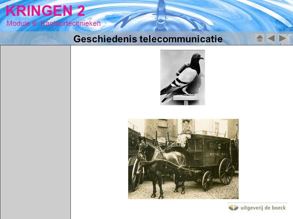 Module 6: Kantoortechnieken KRINGEN 2 Geschiedenis telecommunicatie