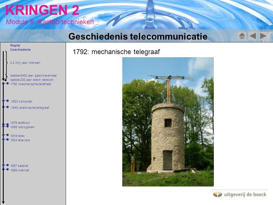 Module 6: Kantoortechnieken KRINGEN 2 1792: mechanische telegraaf Geschiedenis telecommunicatie 2,2 milj. jaar: mensen 1792 (mechanische) telefraaf. l