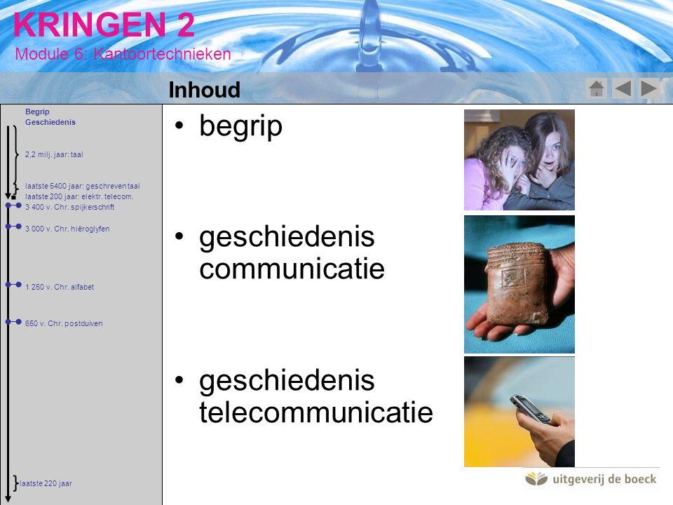 Module 6: Kantoortechnieken KRINGEN 2 begrip geschiedenis communicatie geschiedenis telecommunicatie Inhoud 2,2 milj. jaar: taal 3 400 v. Chr. spijker