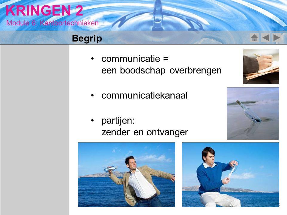 Module 6: Kantoortechnieken KRINGEN 2 communicatie = een boodschap overbrengen communicatiekanaal partijen: zender en ontvanger Begrip