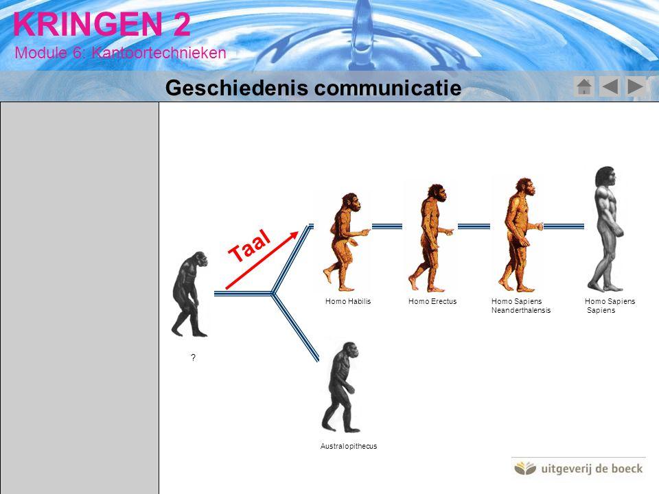 Module 6: Kantoortechnieken KRINGEN 2 Australopithecus Homo HabilisHomo ErectusHomo Sapiens Neanderthalensis Homo Sapiens Sapiens ? Taal Geschiedenis