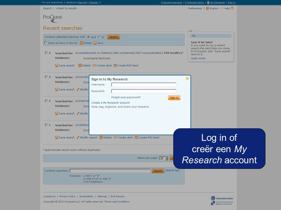 Log in of creër een My Research account