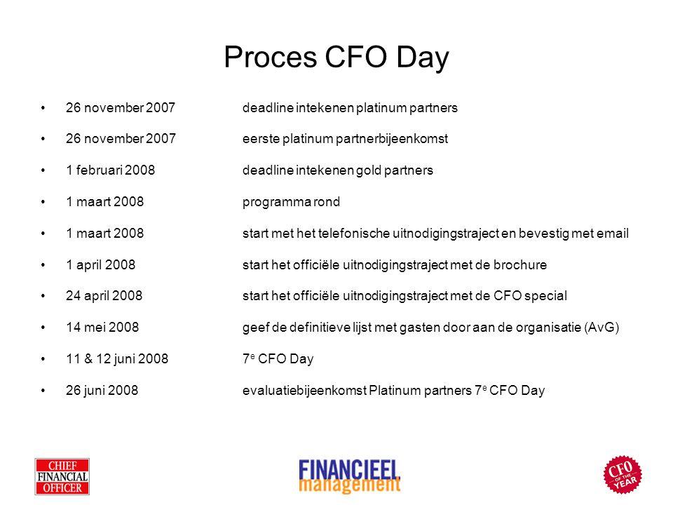 Proces CFO Day 26 november 2007deadline intekenen platinum partners 26 november 2007 eerste platinum partnerbijeenkomst 1 februari 2008deadline inteke