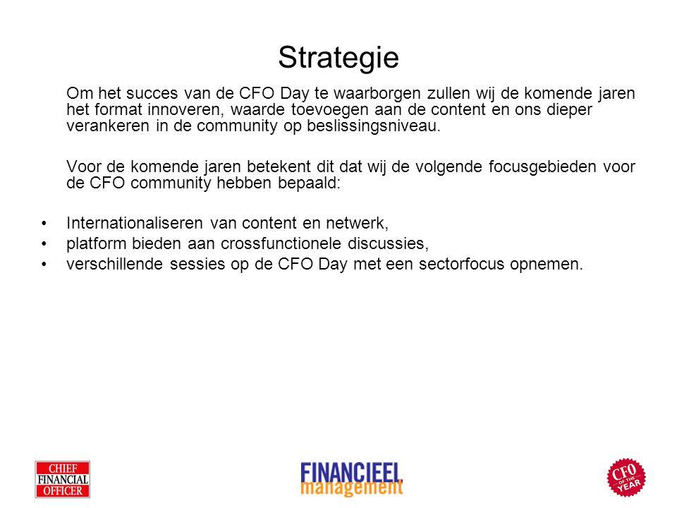 Strategie Om het succes van de CFO Day te waarborgen zullen wij de komende jaren het format innoveren, waarde toevoegen aan de content en ons dieper verankeren in de community op beslissingsniveau.