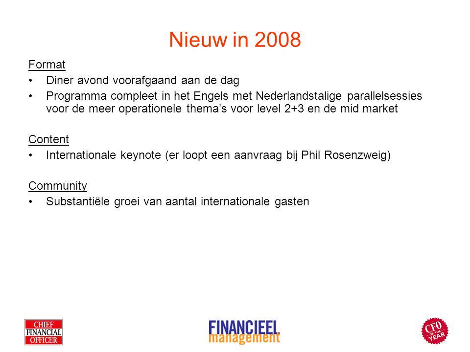 Nieuw in 2008 Format Diner avond voorafgaand aan de dag Programma compleet in het Engels met Nederlandstalige parallelsessies voor de meer operationel