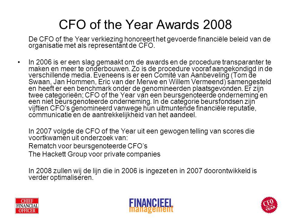CFO of the Year Awards 2008 De CFO of the Year verkiezing honoreert het gevoerde financiële beleid van de organisatie met als representant de CFO. In