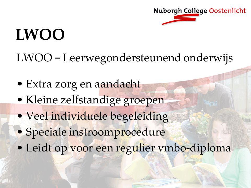LWOO LWOO = Leerwegondersteunend onderwijs Extra zorg en aandacht Kleine zelfstandige groepen Veel individuele begeleiding Speciale instroomprocedure Leidt op voor een regulier vmbo-diploma