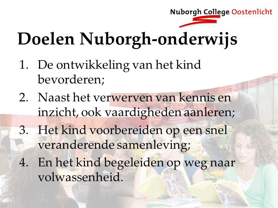 Doelen Nuborgh-onderwijs 1.De ontwikkeling van het kind bevorderen; 2.Naast het verwerven van kennis en inzicht, ook vaardigheden aanleren; 3.Het kind voorbereiden op een snel veranderende samenleving; 4.En het kind begeleiden op weg naar volwassenheid.