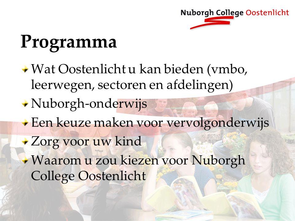Programma Wat Oostenlicht u kan bieden (vmbo, leerwegen, sectoren en afdelingen) Nuborgh-onderwijs Een keuze maken voor vervolgonderwijs Zorg voor uw kind Waarom u zou kiezen voor Nuborgh College Oostenlicht