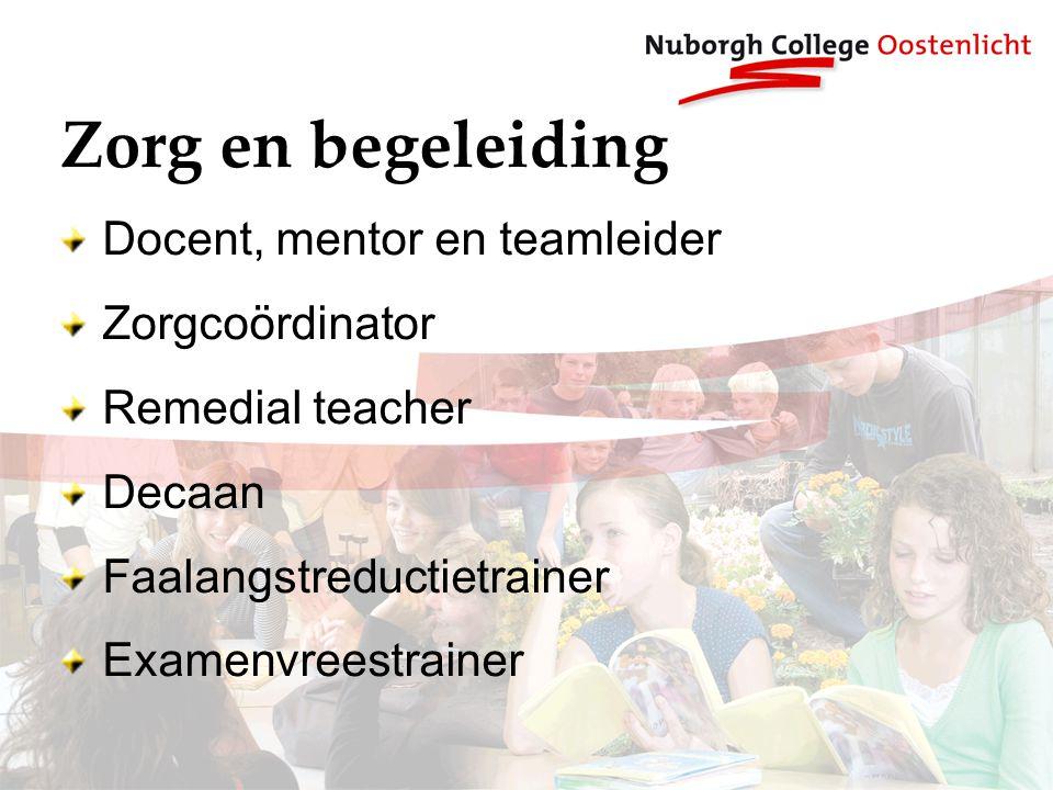 Zorg en begeleiding Docent, mentor en teamleider Zorgcoördinator Remedial teacher Decaan Faalangstreductietrainer Examenvreestrainer