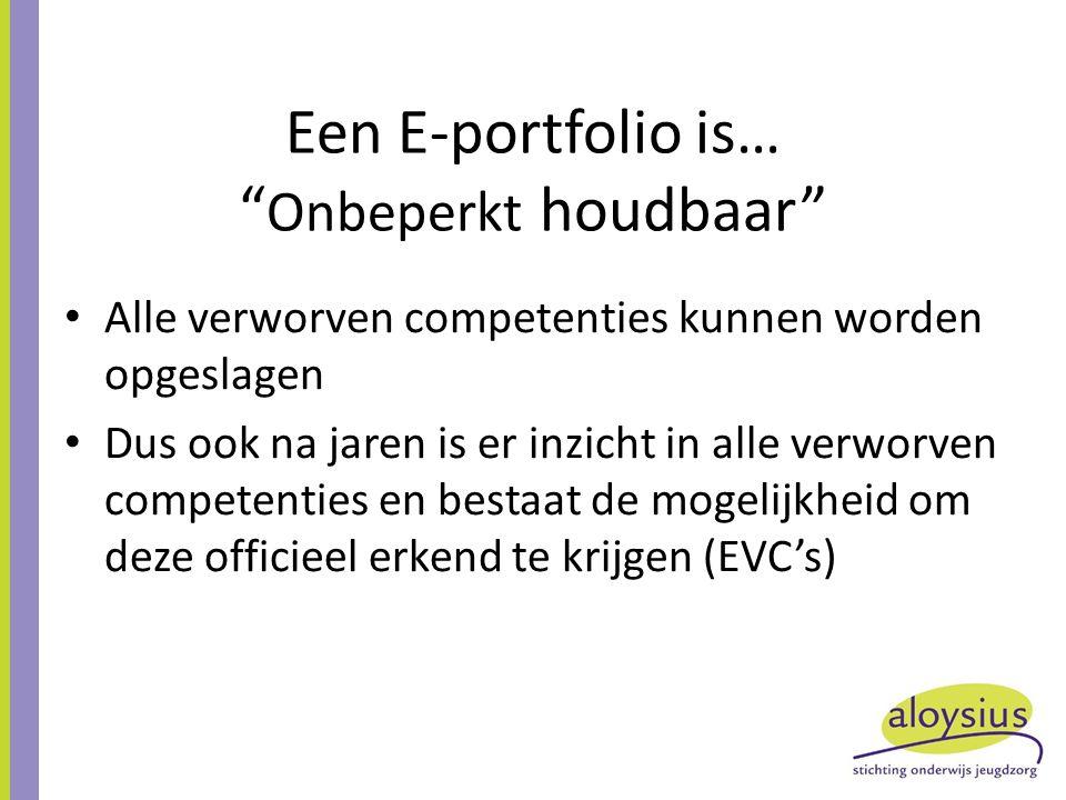 Een E-portfolio is… Onbeperkt houdbaar Alle verworven competenties kunnen worden opgeslagen Dus ook na jaren is er inzicht in alle verworven competenties en bestaat de mogelijkheid om deze officieel erkend te krijgen (EVC's)