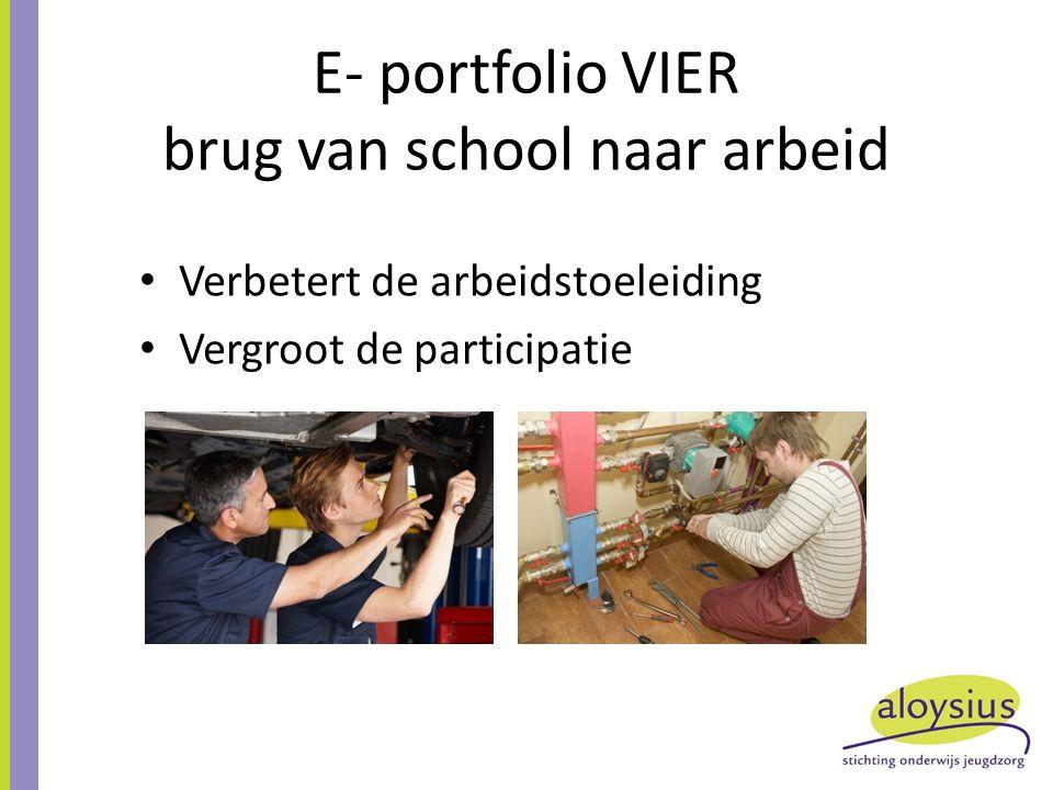 E- portfolio VIER brug van school naar arbeid Verbetert de arbeidstoeleiding Vergroot de participatie