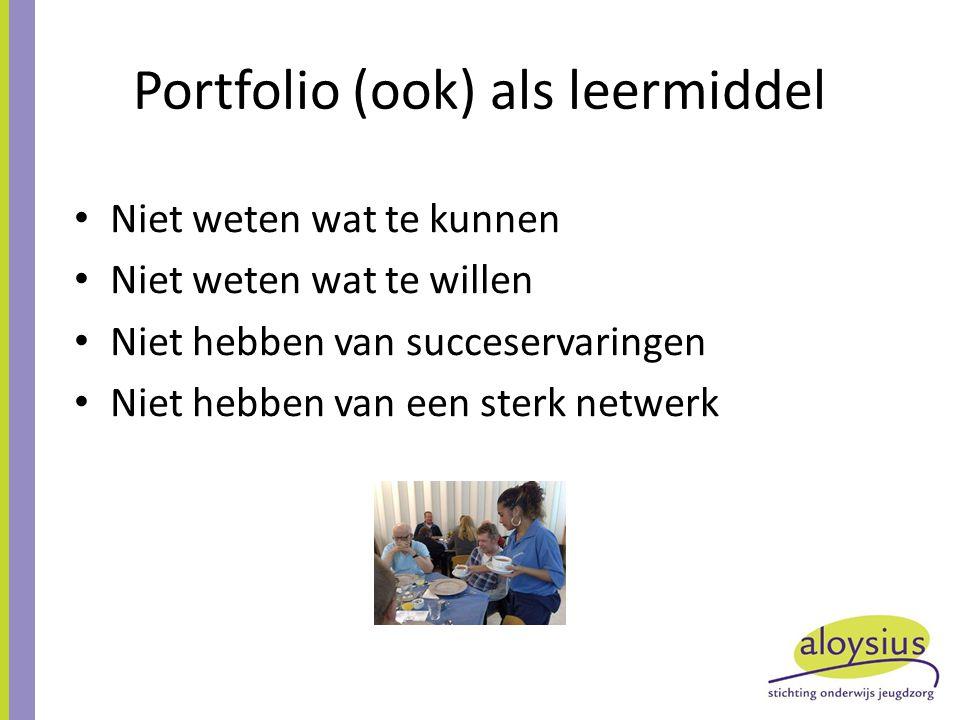 Portfolio (ook) als leermiddel Niet weten wat te kunnen Niet weten wat te willen Niet hebben van succeservaringen Niet hebben van een sterk netwerk