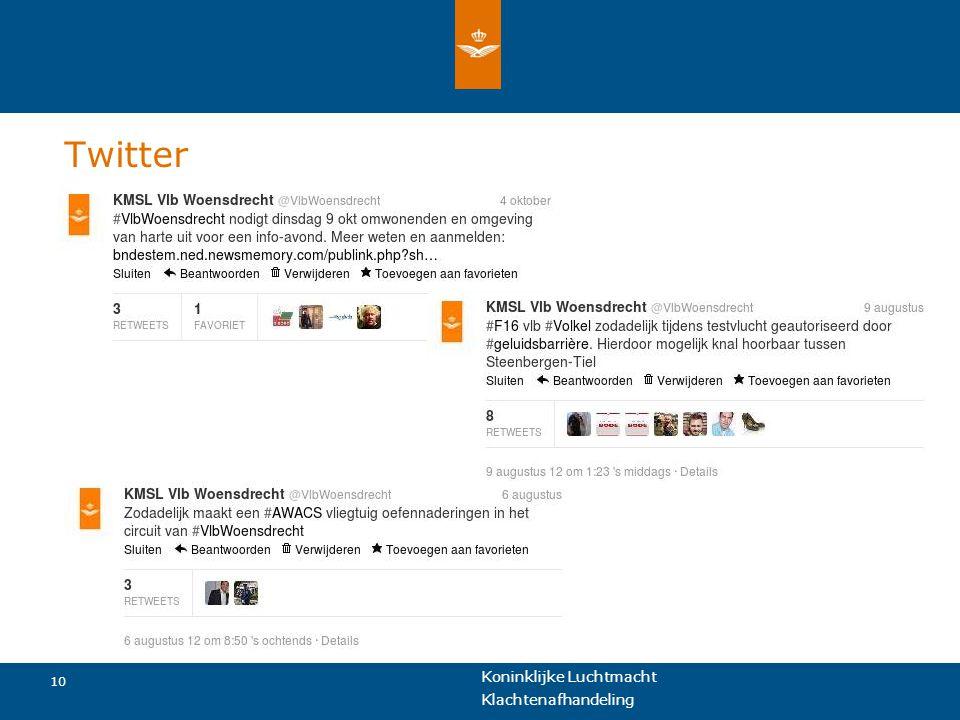 Koninklijke Luchtmacht 10 Klachtenafhandeling Twitter