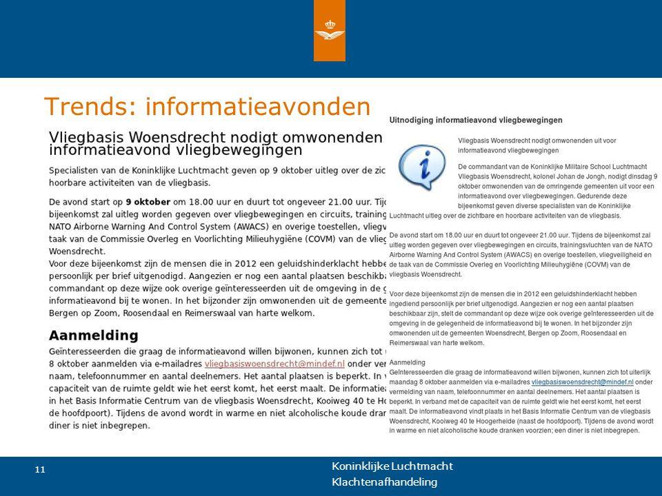 Koninklijke Luchtmacht 11 Klachtenafhandeling Trends: informatieavonden