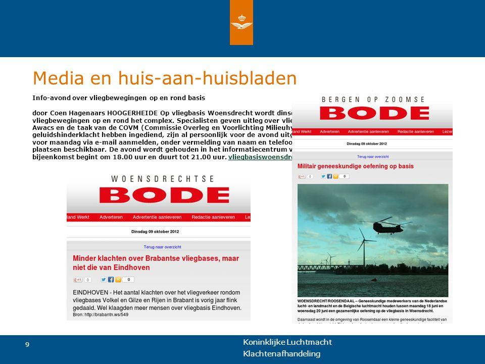 Koninklijke Luchtmacht 9 Klachtenafhandeling Media en huis-aan-huisbladen Info-avond over vliegbewegingen op en rond basis door Coen Hagenaars HOOGERH