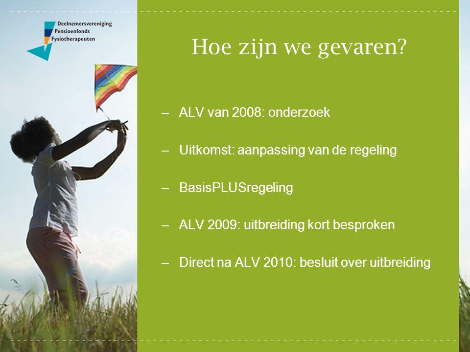Hoe zijn we gevaren? –ALV van 2008: onderzoek –Uitkomst: aanpassing van de regeling –BasisPLUSregeling –ALV 2009: uitbreiding kort besproken –Direct n