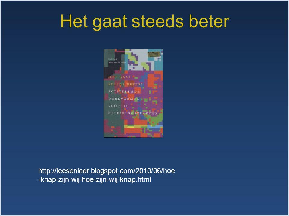 Het gaat steeds beter http://leesenleer.blogspot.com/2010/06/hoe -knap-zijn-wij-hoe-zijn-wij-knap.html