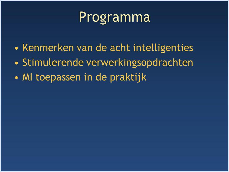 Uitgangspunten MI Iedereen is in het bezit van alle intelligenties Bij sommige mensen is een bepaalde intelligentie extreem ontwikkeld (talent) Intelligenties kunnen samenwerken