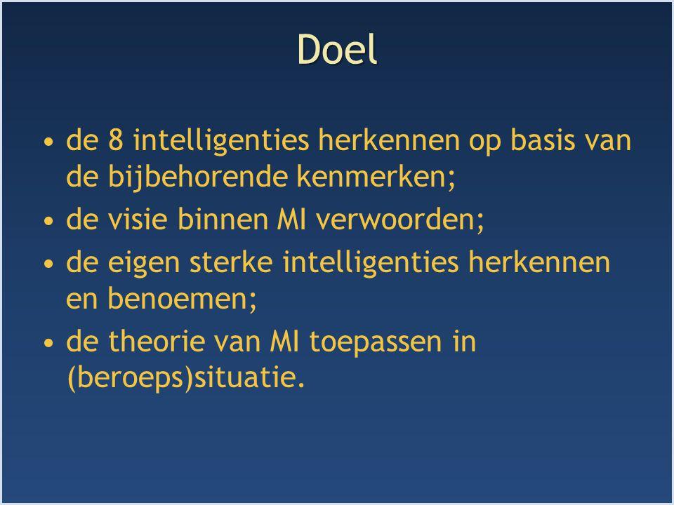Doel de 8 intelligenties herkennen op basis van de bijbehorende kenmerken; de visie binnen MI verwoorden; de eigen sterke intelligenties herkennen en