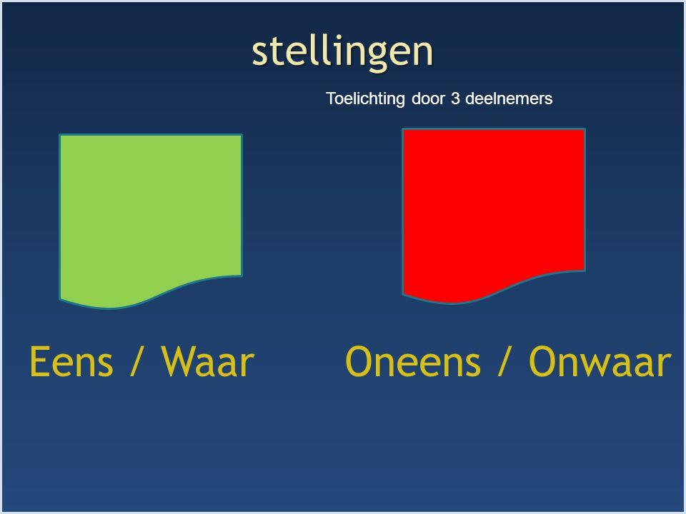 stellingen Eens / WaarOneens / Onwaar Toelichting door 3 deelnemers