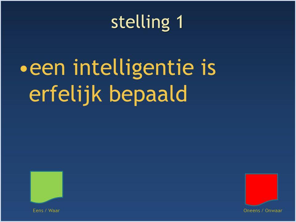 stelling 1 een intelligentie is erfelijk bepaald Eens / WaarOneens / Onwaar