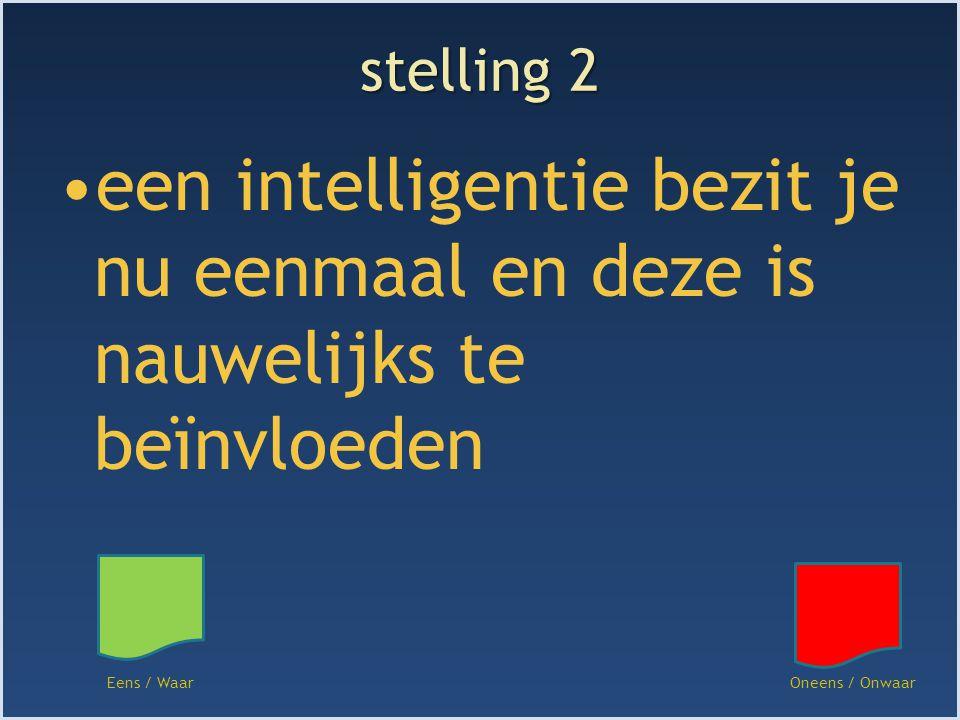 stelling 2 een intelligentie bezit je nu eenmaal en deze is nauwelijks te beïnvloeden Eens / WaarOneens / Onwaar