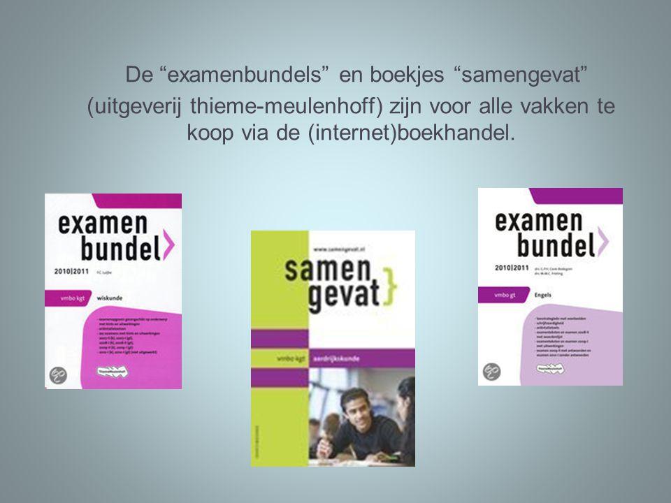 De examenbundels en boekjes samengevat (uitgeverij thieme-meulenhoff) zijn voor alle vakken te koop via de (internet)boekhandel.