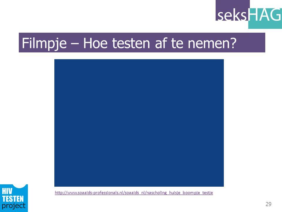 29 http://www.soaaids-professionals.nl/soaaids_nl/nascholing_huisje_boompje_testje Filmpje – Hoe testen af te nemen?