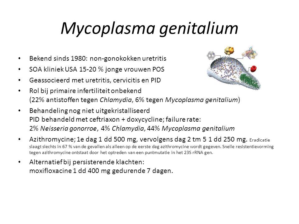 Mycoplasma genitalium Bekend sinds 1980: non-gonokokken uretritis SOA kliniek USA 15-20 % jonge vrouwen POS Geassocieerd met uretritis, cervicitis en