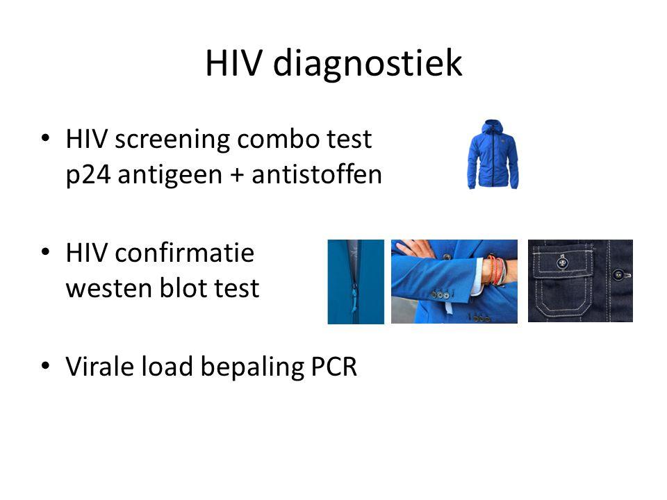 HIV diagnostiek HIV screening combo test p24 antigeen + antistoffen HIV confirmatie westen blot test Virale load bepaling PCR