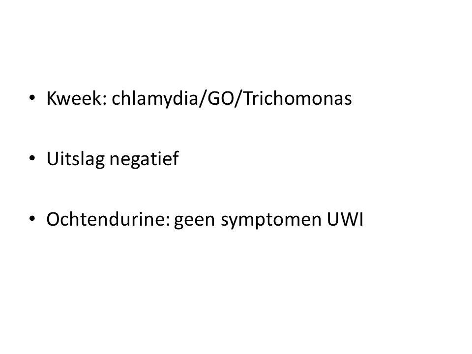 Kweek: chlamydia/GO/Trichomonas Uitslag negatief Ochtendurine: geen symptomen UWI