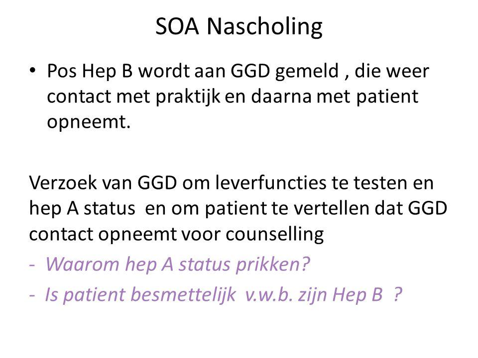 SOA Nascholing Pos Hep B wordt aan GGD gemeld, die weer contact met praktijk en daarna met patient opneemt. Verzoek van GGD om leverfuncties te testen