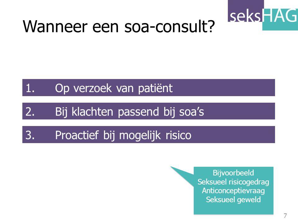 7 1. Op verzoek van patiënt 2. Bij klachten passend bij soa's 3. Proactief bij mogelijk risico Wanneer een soa-consult? Bijvoorbeeld Seksueel risicoge